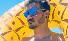 gafas de sol sin montura para hombre espejo azul