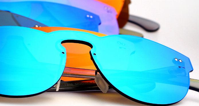 Gafas de sol todo lente, gafas sin montura y todo espejo