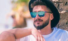Gafas de sol para hombre sin montura espejo azul