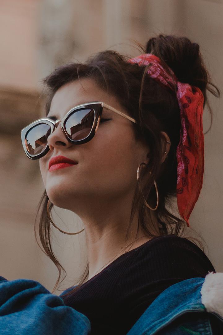 Gafas de sol 2019, Cate Eye con lentes marrones y varillas metálicas