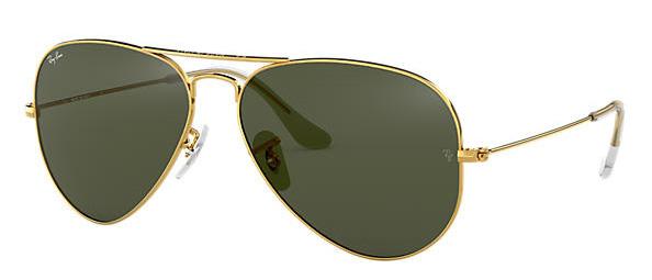 Ray Ban Clásicas Aviator con lentes verdes y montura dorada