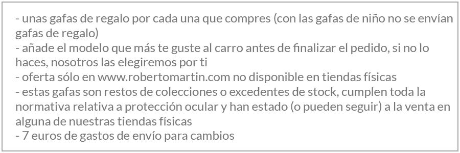 Condiciones compra en Roberto Martin