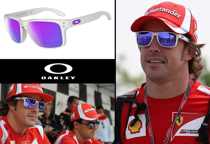 Fernando Alonso con Holbrook blancas de lentes moradas